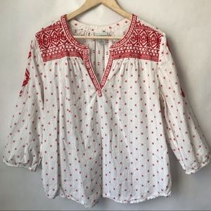 Liz Claiborne White Red Embroidered Peasant Blouse